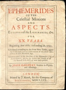 "Gadbury's Ephemerides, published in 1680, noting ""this Mercurial Age."""