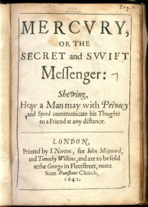 Title page of Wilkins' Mercury (1641). From the Department of Special Collections, Memorial Library, University of Wisconsin-Madison.