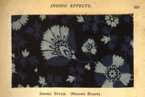 "About ""indigo effects,"" from William Crookes, A practical handbook of dyeing and calico-printing (1874). Acquired through the William and Nora Cole Fund."