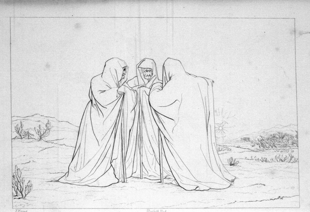 """""""Outline plate"""" of the three witches as depicted by Frank Howard (1833)."""