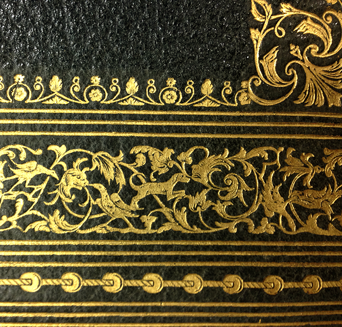 Detail of binding on Audubon's Birds of America, vol. 3. From the Thordarson Collection, Department of Special Collections, Memorial Library, University of Wisconsin-Madison.