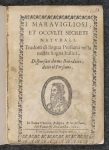 Title page of I maravigliosi et occulti secreti.