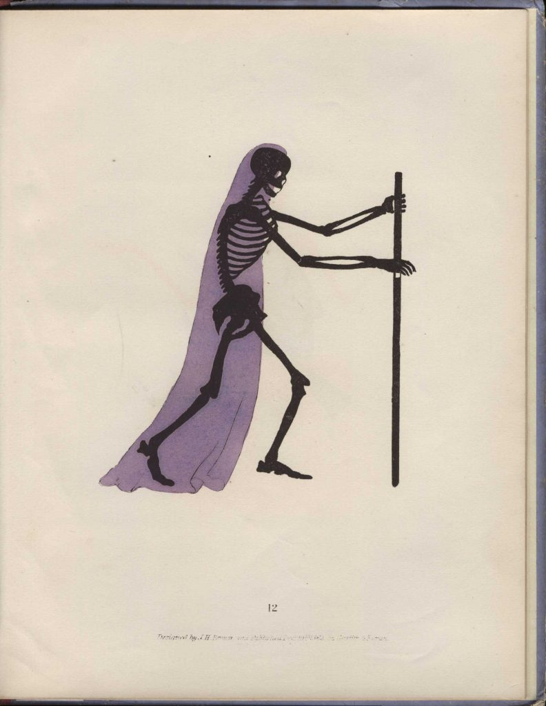Spectropia (1865). Skeleton enrobed in purple, with staff..