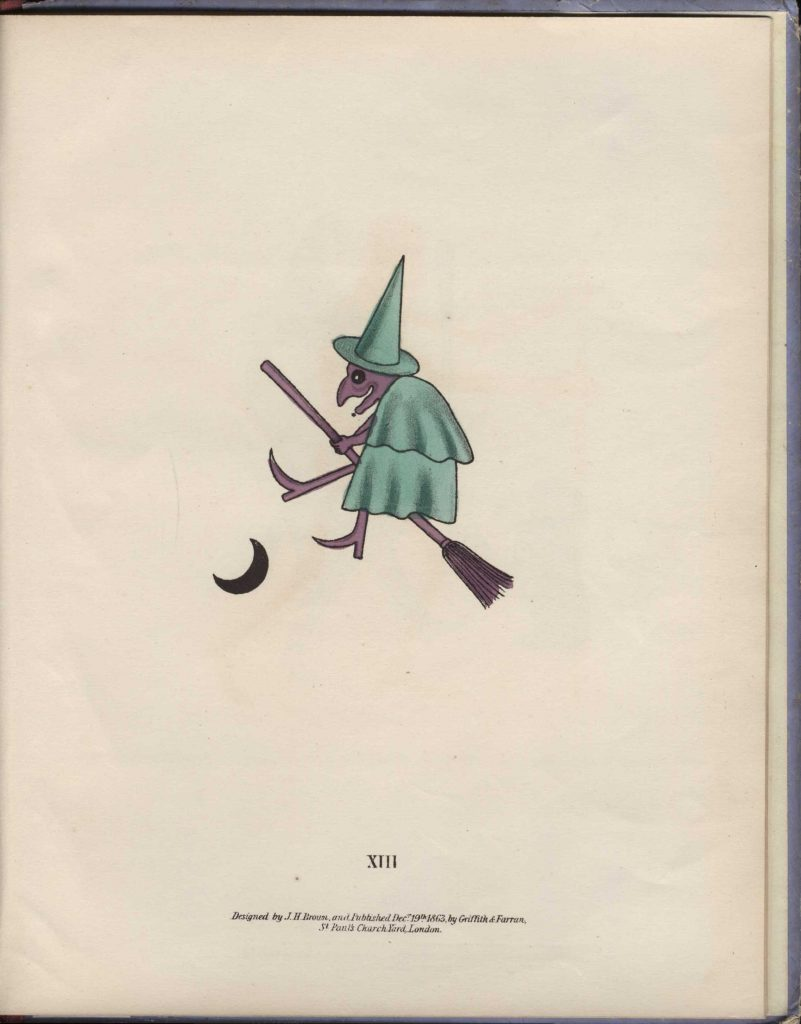 Spectropia (1865), spectre XIII, witch in green and purple.