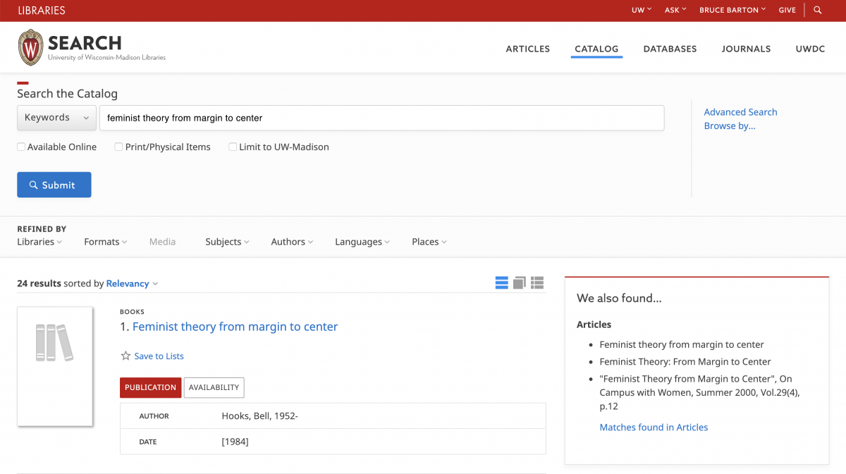 Screen shot of catalog page illustrating coordinated discovery features