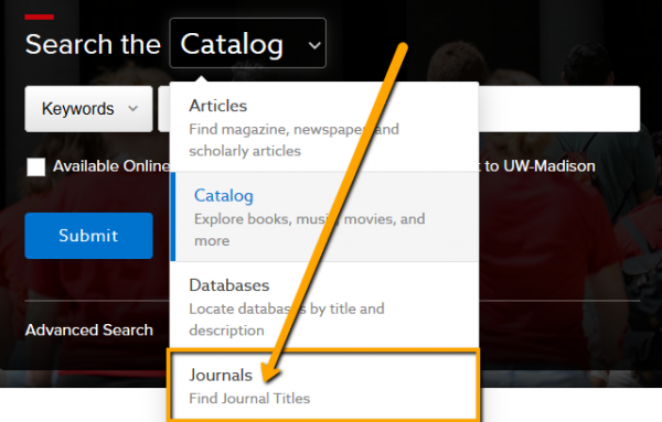 Dropdown menu open with Journals highlighted
