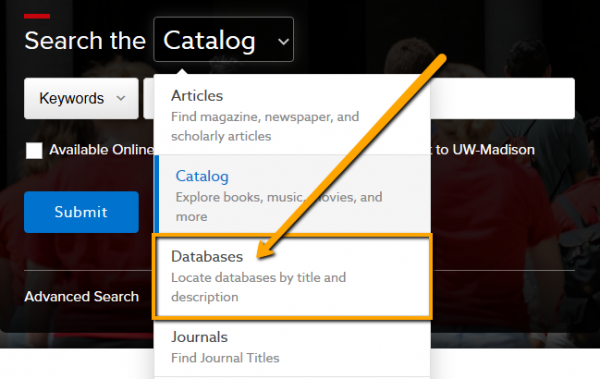Dropdown menu options open with databases highlighted